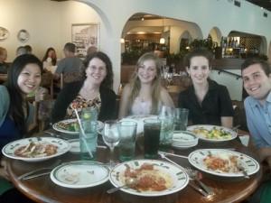 Mundell & Associates interns at dinner