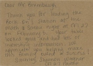 Thank you note from Center for Inquiry for Science Night