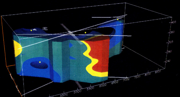 3-D model of the distribution of total petroleum hydrocarbons
