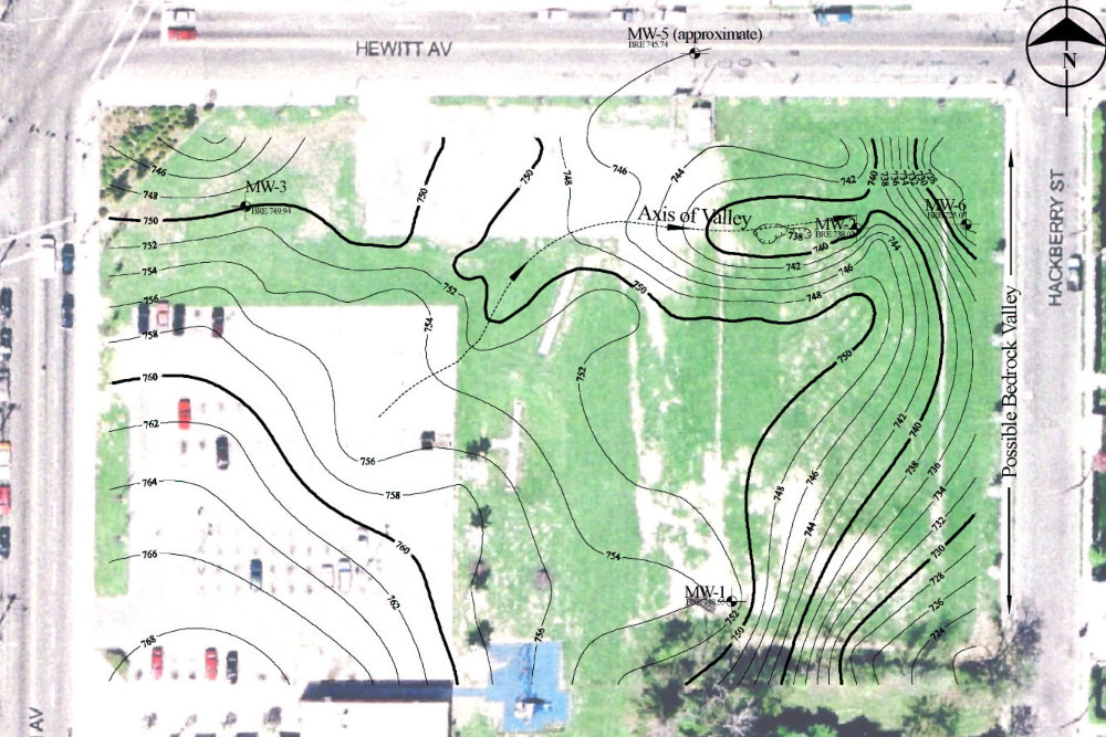 Bedrock Topography Map using GRM cross sections