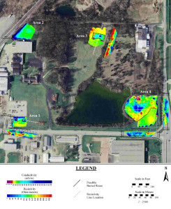 Conductivity map and resistivity lines at buried waste